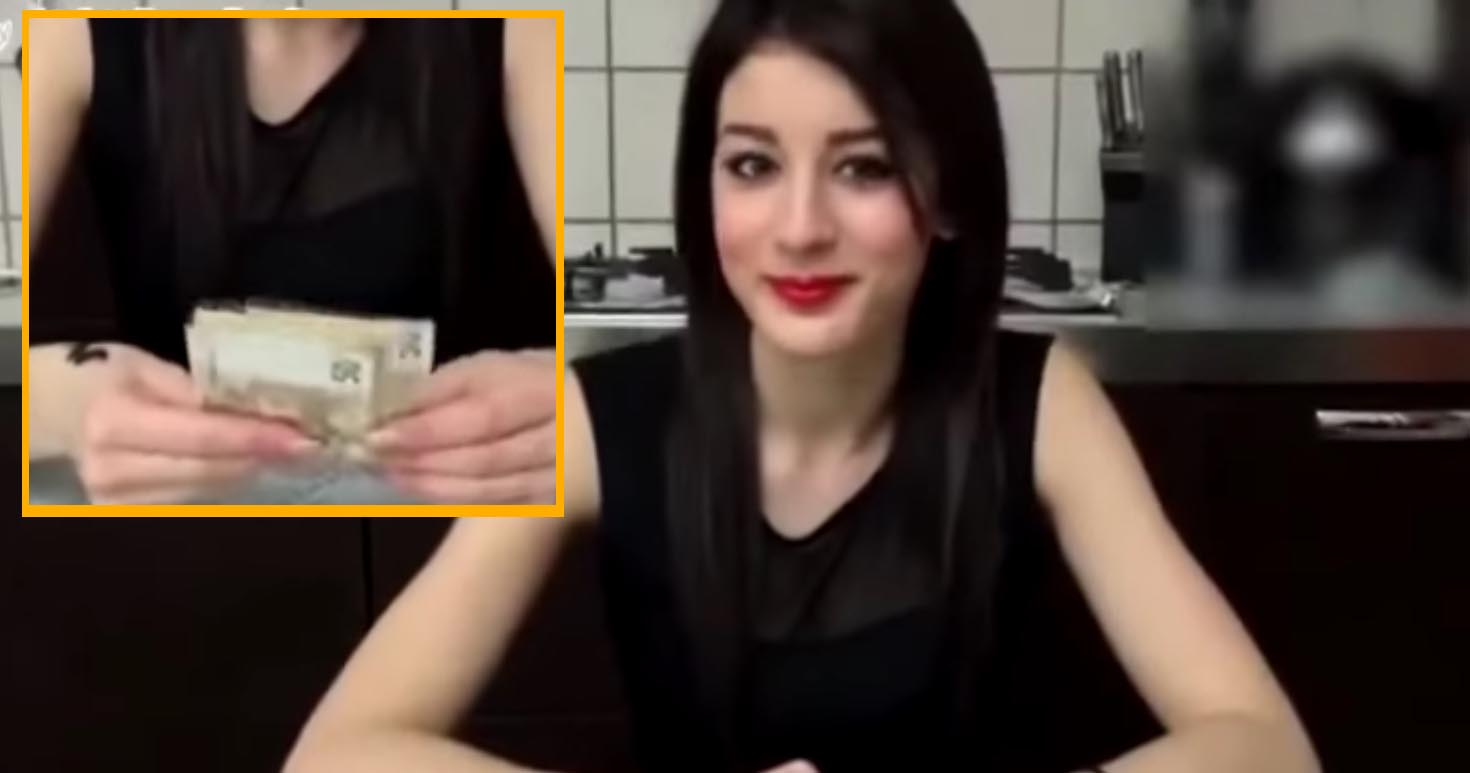 ragazza bacia sconosciuto 500 euro