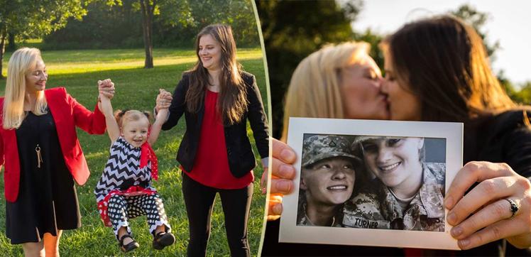 """""""Ci siamo conosciute nell'esercito e ora siamo una famiglia fantastica"""": la storia d'amore di due militari"""