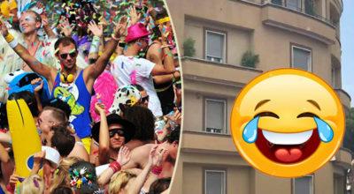 Passa il gay pride sotto casa sua, tira fuori questo striscione e arrivano i carabinieri