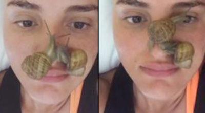 Arisa fa un trattamento di bellezza con le lumache