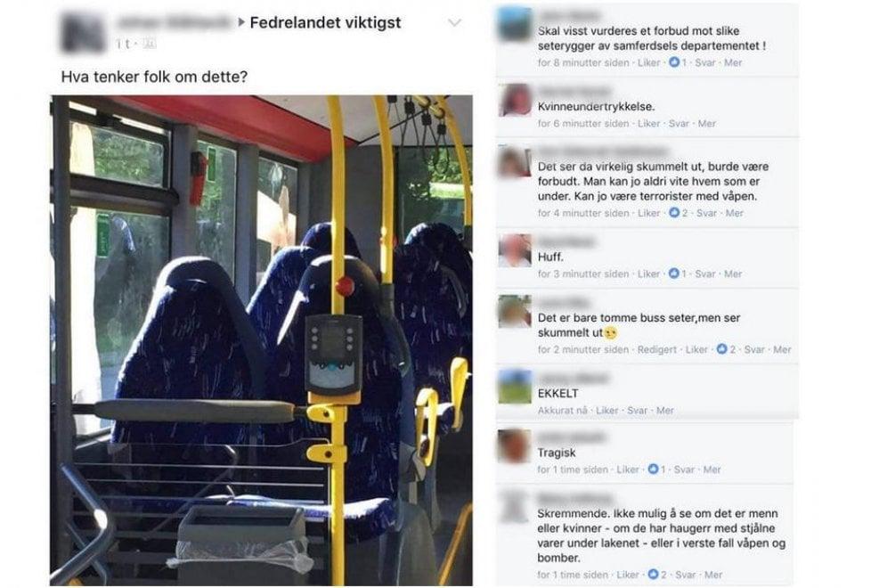 """Gruppo nazionalista su FB: """"Troppe donne con il Burqa"""". Ma sono solo i sedili del bus"""