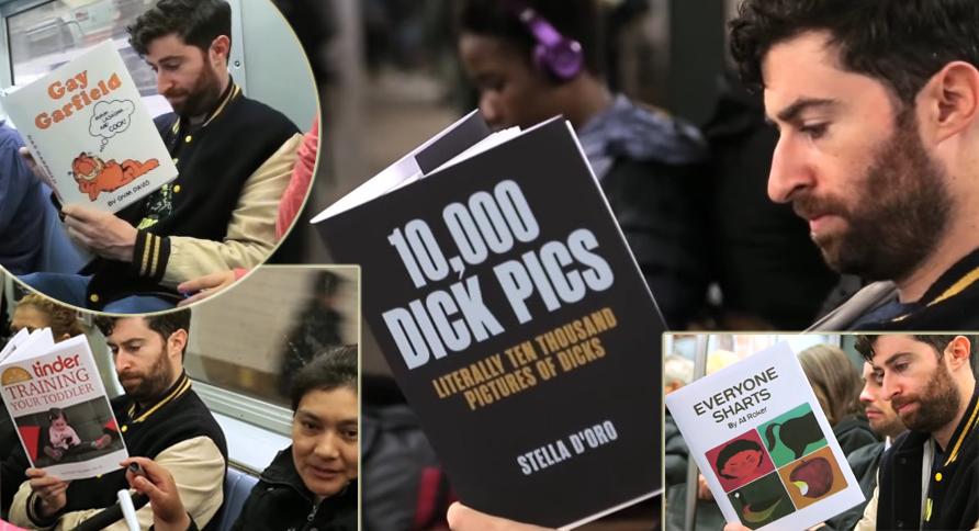 """Cosa fanno i vicini se in metro leggi libri come """"trucchi per allungare il pene"""" e """"come trattenere una scorreggia""""? Il racconto in un video"""