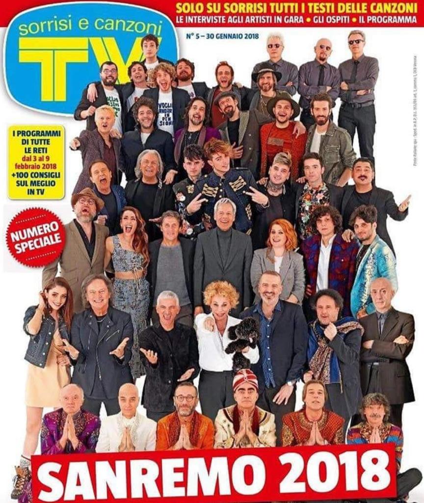 Sanremo 2018: la copertina ufficiale di Sorrisi con tutti i cantanti in gara