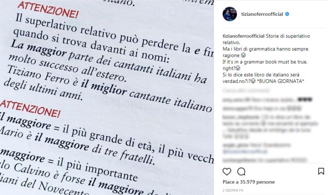 """""""Tiziano Ferro è il miglior cantante italiano degli ultimi anni"""": a dirlo è un libro di grammatica"""