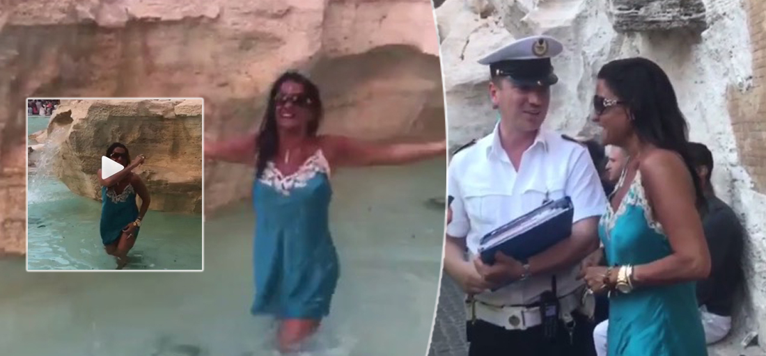 Aida Nizar fa il bagno nella Fontana di Trevi