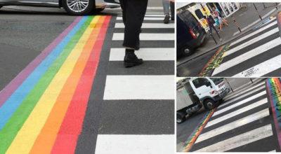 parigi, strisce arcobaleno