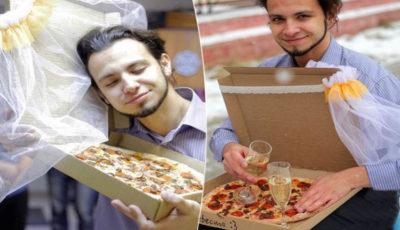 ragazzo sposa una pizza