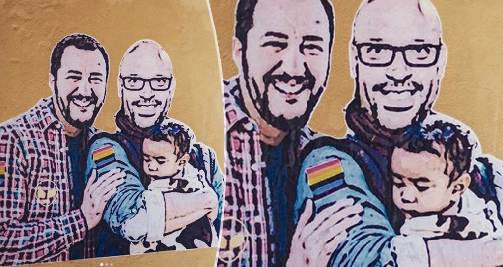 salvini, fontana, famiglia arcobaleno, murales