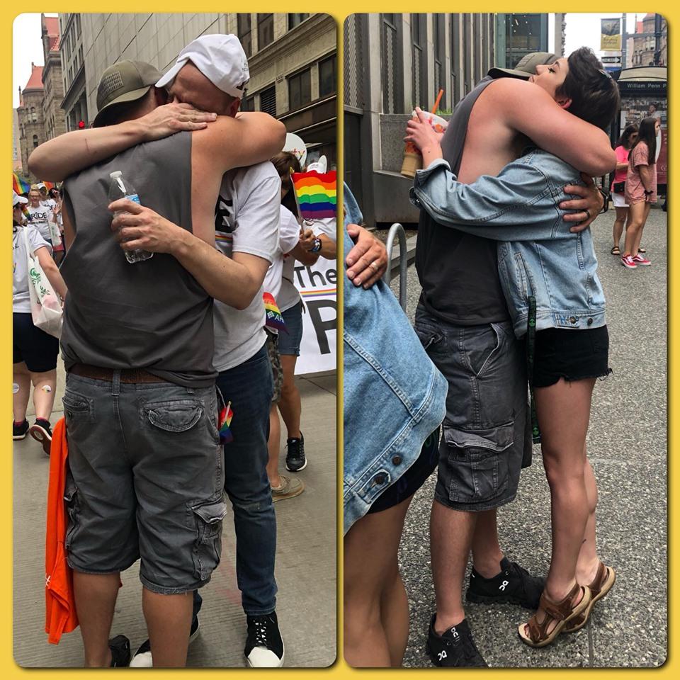 papa abbraccia figli gay